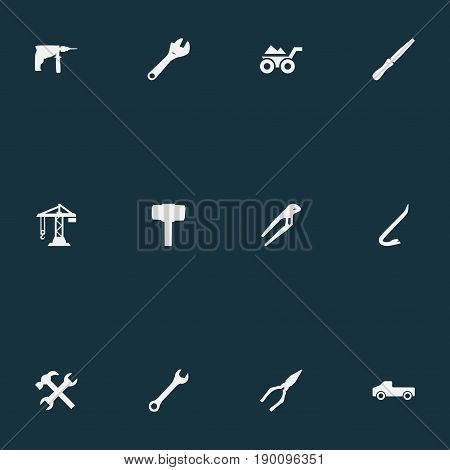 Vector Illustration Set Of Simple Architecture Icons. Elements Fretsaw, Spanner, Adjustable Wrench And Other Synonyms Tool, Machine And Equipment.