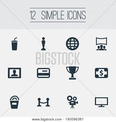 Vector Illustration Set Of Simple Film Icons. Elements Member Access, Premiere, Cash And Other Synonyms Currency, Barrier And Presenter.