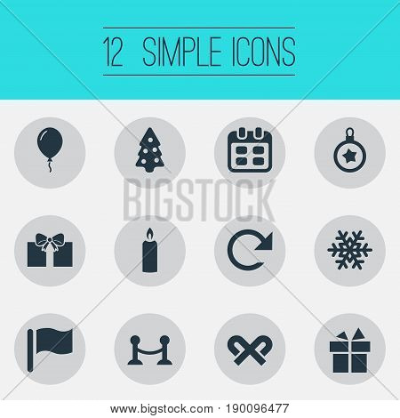 Vector Illustration Set Of Simple New Year Icons. Elements Striped Lollipop, Surprise, Refresh And Other Synonyms Month, Fire And Christmas.