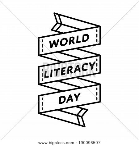 World Literacy day emblem isolated vector illustration on white background. 8 september global holiday event label, greeting card decoration graphic element