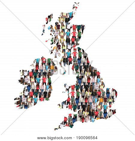 Great Britain Uk Ireland Map Multicultural Group Of People Integration Immigration Diversity