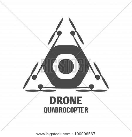 Drone quadcopter vector template logo technology helicopter aircraft copter remote camera aerial fly wireless control equipment. Aviation quadcopter unmanned drone emblem