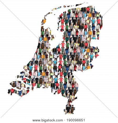 Netherlands Holland Map Multicultural Group Of People Integration Immigration Diversity