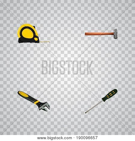 Realistic Handle Hit, Length Roulette, Carpenter Vector Elements. Set Of Tools Realistic Symbols Also Includes Sledge, Screwdriver, Tape Objects.