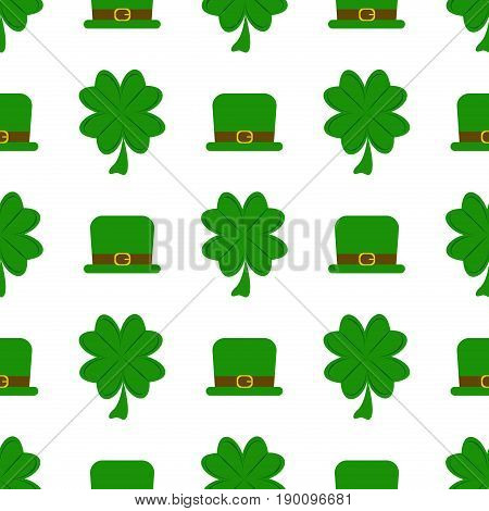 Vector seamless clover pattern green irish ireland leaf plant shamrock celebration holiday background. Clover pattern for Saint Patrick's Day.