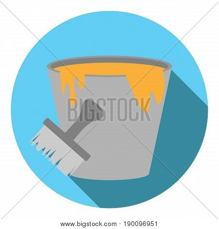 Vector image buckets with paint on a round background