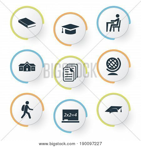 Vector Illustration Set Of Simple Education Icons. Elements Books, Pupil, Chalk And Other Synonyms Bookshop, Library And Document.