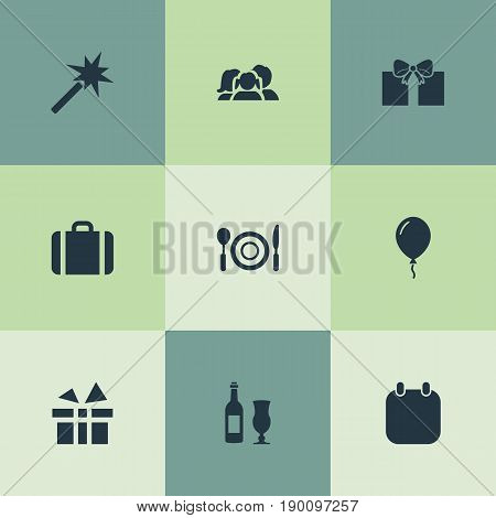 Vector Illustration Set Of Simple Festal Icons. Elements Balloon , Spell, Handbag Synonyms Wine, Dinner And Sky.