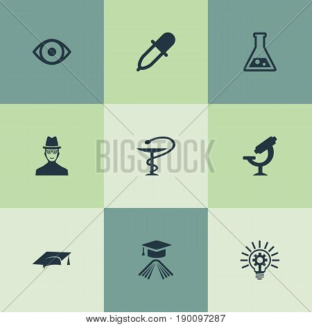 Vector Illustration Set Of Simple Science Icons. Elements Administration, Flask, Biology And Other Synonyms Book, Cap And Supervision.