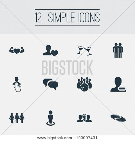 Vector Illustration Set Of Simple Friends Icons. Elements Beer, Singleness, Bodybuilding And Other Synonyms Friends, Enemy And Man.