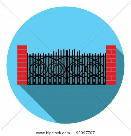 Vector image wrought-iron gate on a round background