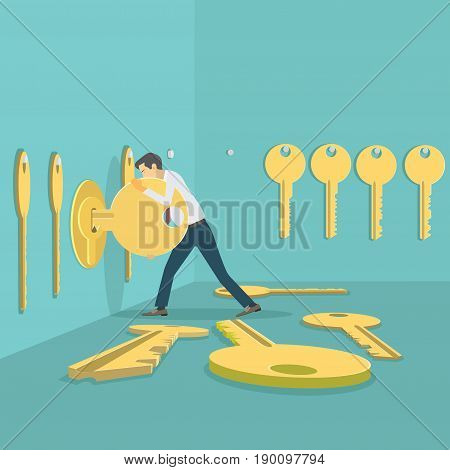 Illustration depicting a man picking keys to a lock
