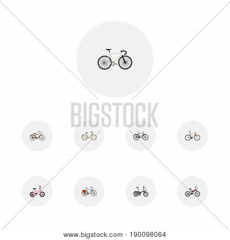Realistic Old, Road Velocity, Folding Sport-Cycle And Other Vector Elements. Set Of Bike Realistic Symbols Also Includes Teenager, Childlike, Folding Objects.
