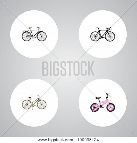 Realistic Childlike, For Girl, Exercise Riding And Other Vector Elements. Set Of Bicycle Realistic Symbols Also Includes Stylish, Childlike, Bike Objects.