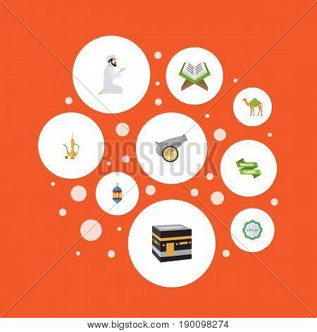 Flat Icons Ramadan Kareem, Praying Man, Holy Book And Other Vector Elements. Set Of Ramadan Flat Icons Symbols Also Includes Decorative, Koran, Book Objects.