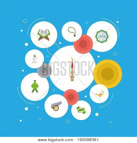 Flat Icons Artillery, Praying Man, Ramadan Kareem And Other Vector Elements. Set Of Religion Flat Icons Symbols Also Includes Praying, Artillery, Hari Objects.