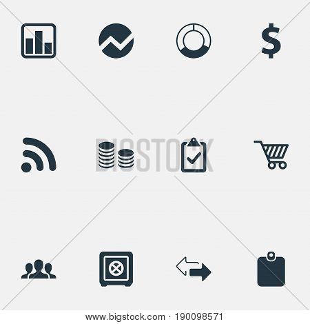 Vector Illustration Set Of Simple Finance Icons. Elements Authentication, Supervision List, Strongbox And Other Synonyms Chart, List And Safety.