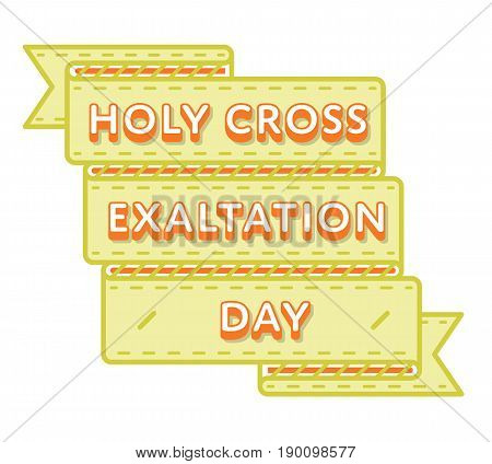 Holy Cross Exaltation emblem isolated vector illustration on white background. 27 september orthodox holiday event label, greeting card decoration graphic element
