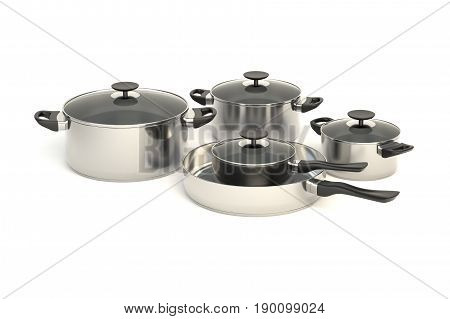 Stainless steel pots and pans on white background. Set of five pice cooking kitchenware with glass see through lids. 3D illustration.