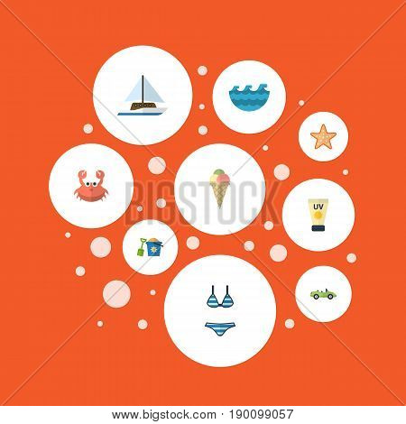 Flat Icons Sailboard, Beachwear, Cancer And Other Vector Elements. Set Of Beach Flat Icons Symbols Also Includes Sun, Sea, Pain Objects.
