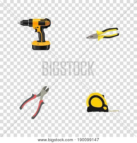 Realistic Forceps, Pliers, Electric Screwdriver And Other Vector Elements. Set Of Tools Realistic Symbols Also Includes Forceps, Tongs, Instrument Objects.