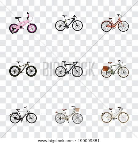 Realistic Cyclocross Drive, Retro, Working And Other Vector Elements. Set Of  Realistic Symbols Also Includes Extreme, Bmx, Hybrid Objects.