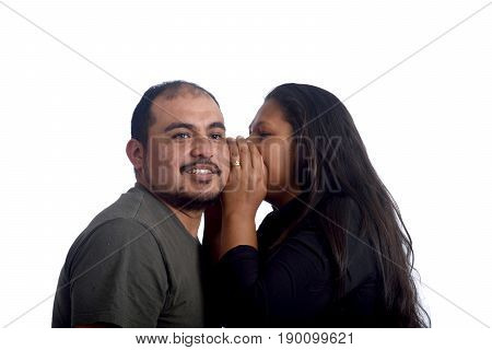 To tell secrets in the ear on white background