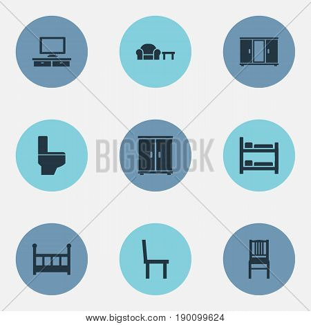 Vector Illustration Set Of Simple Furniture Icons. Elements Bathroom, Bunk Bed, Chair And Other Synonyms Television, Bathroom And Chair.