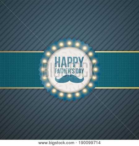 Happy Fathers Day circle Label with blue Ribbon. Vector Illustration