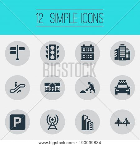 Vector Illustration Set Of Simple Architecture Icons. Elements Semaphore, Megapolis, Signal Transmitter And Other Synonyms Direction, Stoplight And Under.