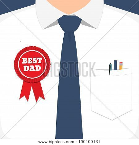 Happy Fathers Day. Happy fathers day card design with Tie and best father award. Vector illustration