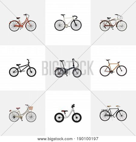 Realistic Road Velocity, Equilibrium, Journey Bike And Other Vector Elements. Set Of  Realistic Symbols Also Includes Balance, Extreme, Equilibrium Objects.