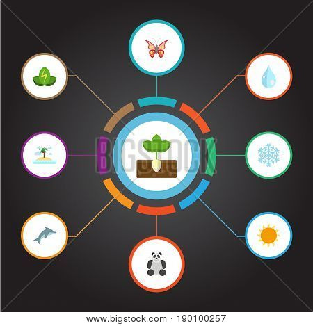 Flat Icons China Bear, Playful Fish, Isle Beach And Other Vector Elements. Set Of Nature Flat Icons Symbols Also Includes Energy, Playful, Power Objects.