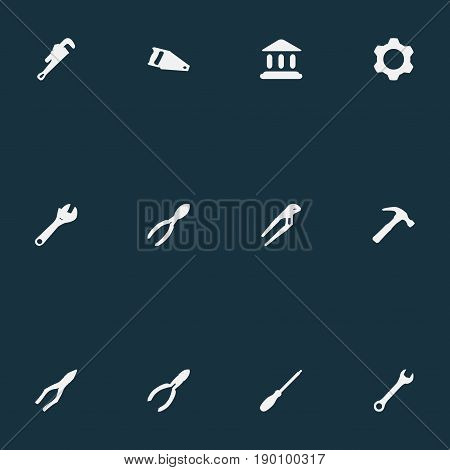 Vector Illustration Set Of Simple Industrial Icons. Elements Wrench, Spanner, Handsaw Synonyms Academy, Hammer And Wrench.