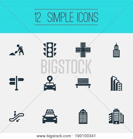 Vector Illustration Set Of Simple Architecture Icons. Elements Cityscape, Corporation, Park Seat And Other Synonyms Park, Traffic And Stoplight.