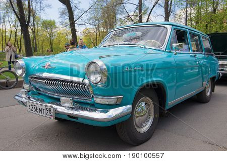 SAINT PETERSBURG, RUSSIA - MAY 21, 2017: Blue station wagon GAZ-22 Volga close up. The third annual parade of vintage transport in Saint-Petersburg
