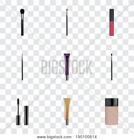 Realistic Liquid Lipstick, Brush, Day Creme And Other Vector Elements. Set Of Cosmetics Realistic Symbols Also Includes Brow, Contour, Cosmetics Objects.