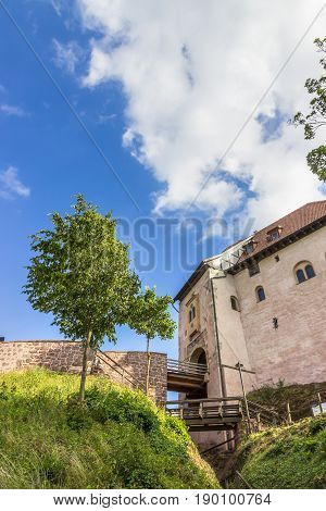 Beautiful Wartburg Castle in Eisenach, Germany. Wooden bridges