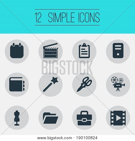 Vector Illustration Set Of Simple Design Icons. Elements Action, Schedule, Date And Other Synonyms Inventory, Film And Camera.