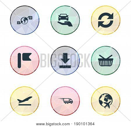 Vector Illustration Set Of Simple Engineering Icons. Elements Bottom Side, Fast Cargo, Departure And Other Synonyms Revolve, Marker And Parcel.