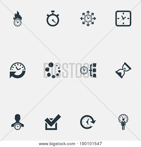 Vector Illustration Set Of Simple Time Icons. Elements Arrows, Velocity, Time Management And Other Synonyms Multitasking, Task And Grade.