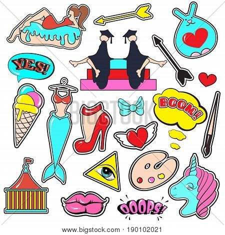 Fashion patch badges with lips hearts speech bubblesmermaid unicorn shoe palette brush girl bunny. Vector illustration isolated . Set of stickers pins patches in cartoon 80s-90s comic style.