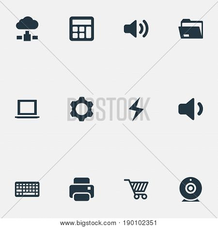 Vector Illustration Set Of Simple Device Icons. Elements Battery, Cogwheel, Keypad And Other Synonyms Charge, Dossier And Web.