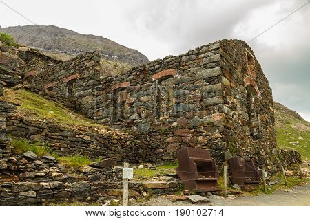 On Snowdon with ruins of the Brittania Copper Mine. Snowdonia Wales United Kingdom.