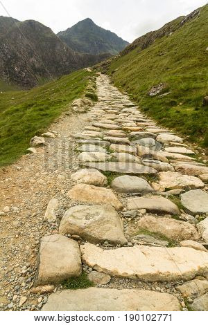 Snowdon Stone Flagged Path Up To Peak Of Snowdon Miners Track.