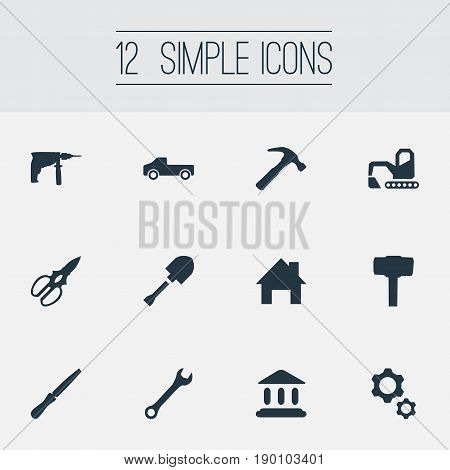 Vector Illustration Set Of Simple Architecture Icons. Elements Construction, Transportation, Fretsaw And Other Synonyms Transportation, Fretsaw And Home.
