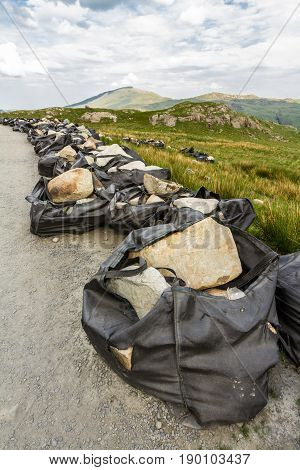 Rocks Airlifted For Repairing Footpath On Snowdon.