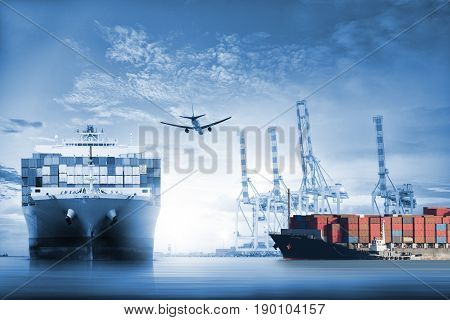 Logistics and transportation of International Container Cargo ship and cargo plane in the ocean at twilight sky