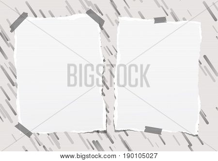 Pieces of ripped blank note, notebook, copybook paper sheets stuck on lined gray background