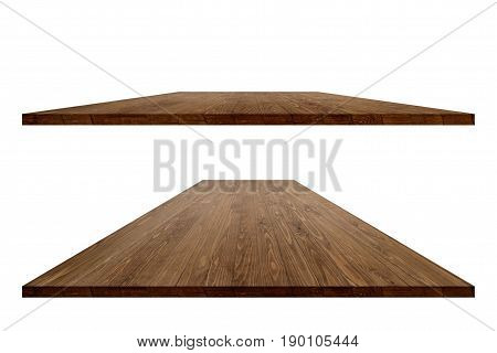 Vintage wood table surface for product placement or montage design. Vintage wood table. Wood table surface. Rustic wood table surface. Large vintage or office wood table perspective. Wood table texture background. Wood table perspective worktop surface.